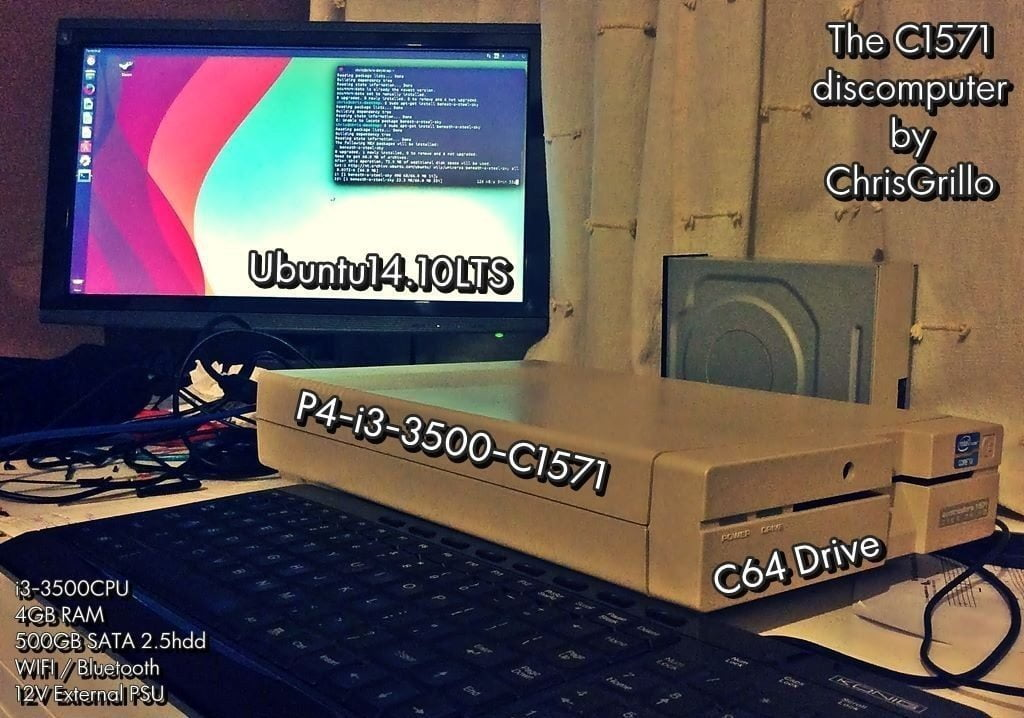 Retrofitting a Commodore C1571 Disk drive into an Intel I3